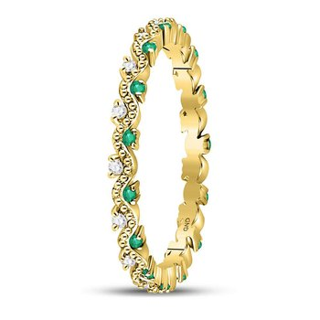 10kt Yellow Gold Womens Round Emerald Diamond Eternity Stackable Band Ring 1/4 Cttw