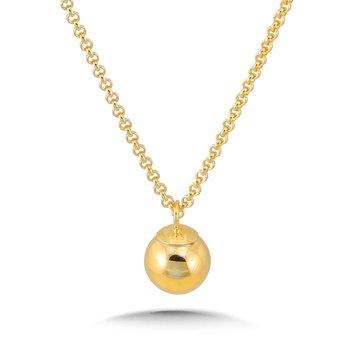 14K Yellow Gold Plated Sterling Silver Dangle Ball Pendant