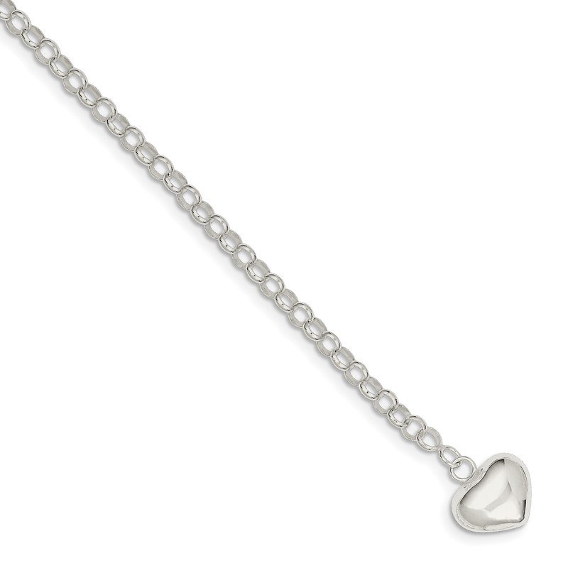 Quality Gold Sterling Silver Puffed Heart Charm Bracelet