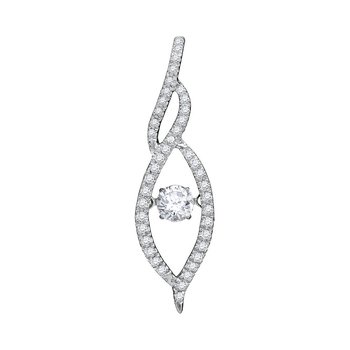 10kt White Gold Womens Round Diamond Moving Twinkle Solitaire Pendant 1/5 Cttw