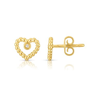 14K Gold Popcorn Heart Earrings