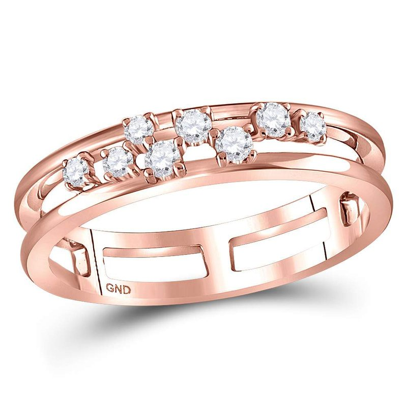Kingdom Treasures 10kt Rose Gold Womens Round Diamond Split Band Ring 1/5 Cttw