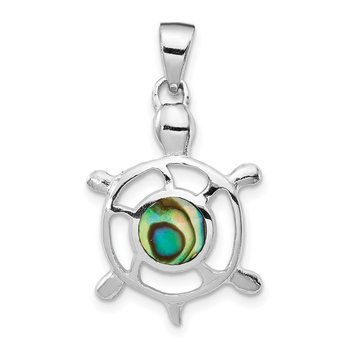Sterling Silver Rhodium-plated Abalone Turtle Pendant