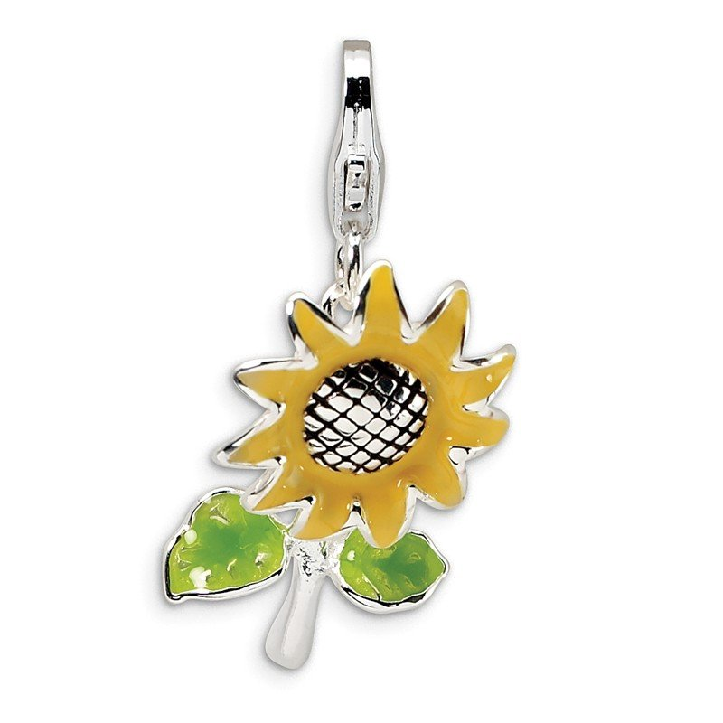 Quality Gold Sterling Silver Amore La Vita Rhodium-pl 3-D Enameled Sunflower Charm