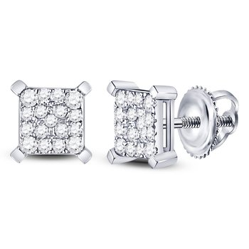 10kt White Gold Womens Round Diamond Square Cluster Earrings 1/4 Cttw