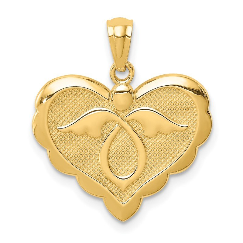 Quality Gold 14K Yellow Gold Angel in Heart Pendant