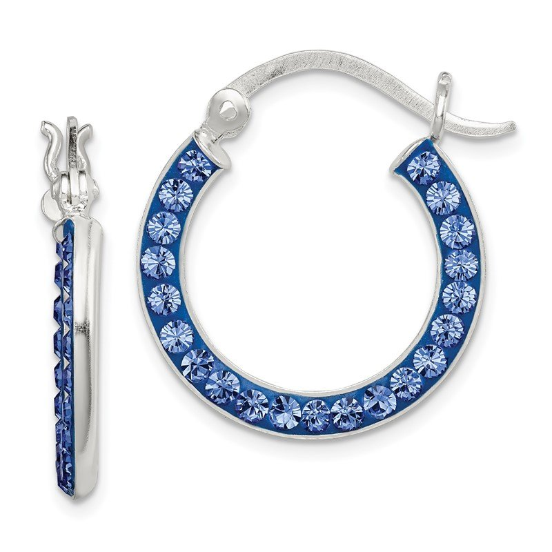Quality Gold Sterling Silver Stellux Crystal Blue Hoop Earrings