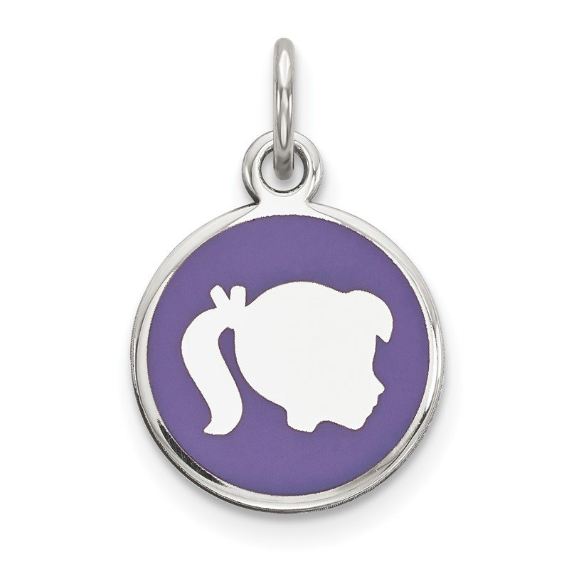 Quality Gold Sterling Silver Rhod-plate Purple Enamel Right Facing Girl Head Disc Charm
