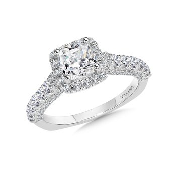 Cushion Halo Engagement Ring Mounting in 14K White Gold (.75 ct. tw.)