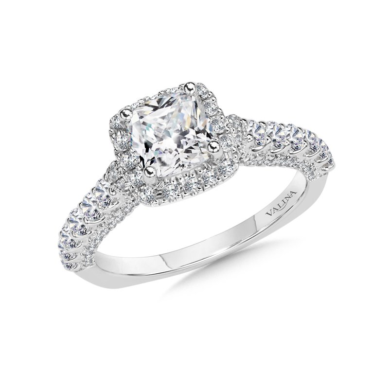 Valina Cushion Halo Engagement Ring Mounting in 14K White Gold (.75 ct. tw.)