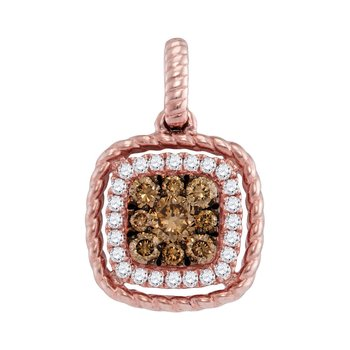 14kt Rose Gold Womens Round Brown Diamond Square Frame Cluster Pendant 1/3 Cttw
