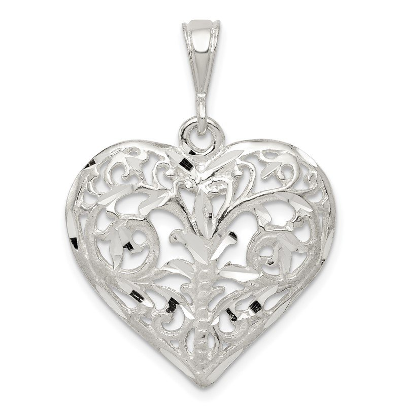 Quality Gold Sterling Silver Polished Filigree Heart Pendant