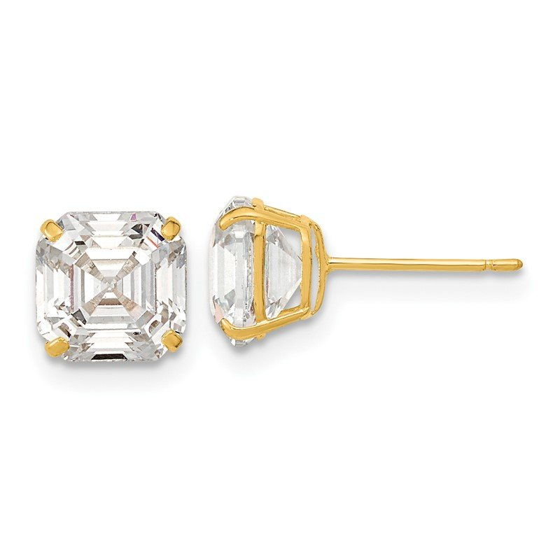 Quality Gold 14k Polished 7x7 Asscher Cut CZ Studs Post Earrings