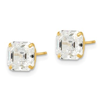 14k Polished 7x7 Asscher Cut CZ Studs Post Earrings