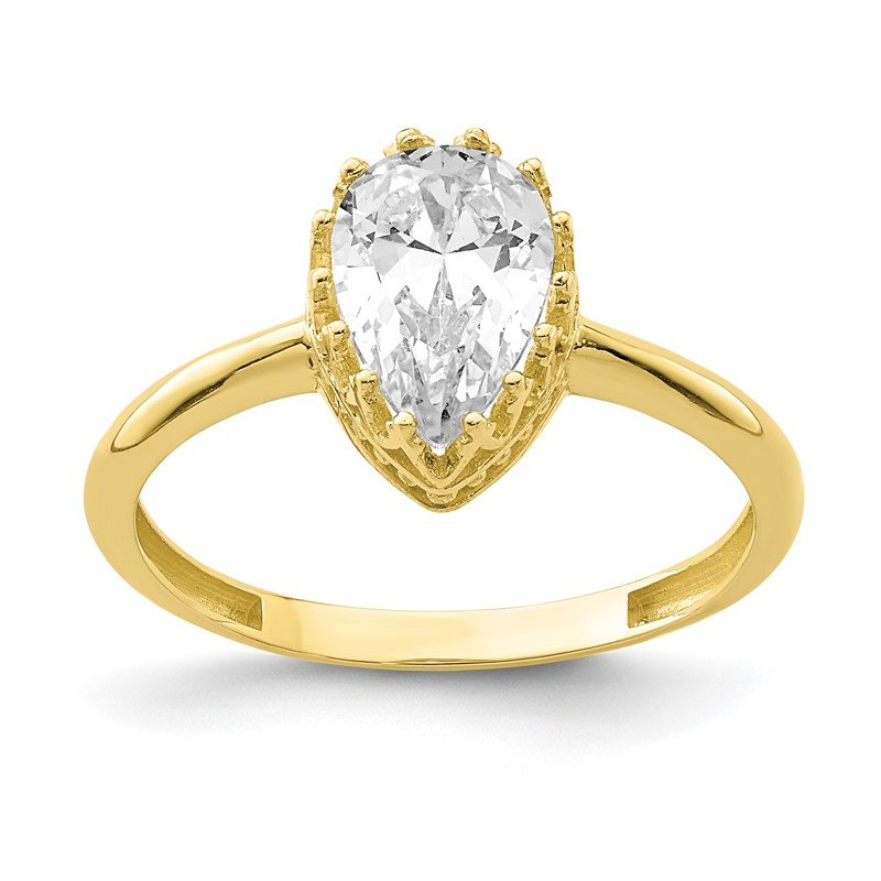 Quality Gold 10k Tiara Collection Polished Pear CZ Ring