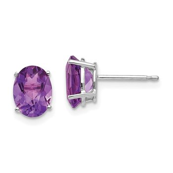 14k White Gold 8x6mm Oval Amethyst Earrings