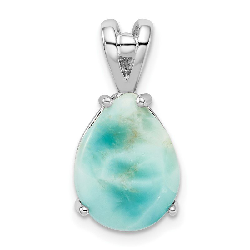 Quality Gold Sterling Silver Rhodium-plated Lab Created Larimar Teardrop Pendant