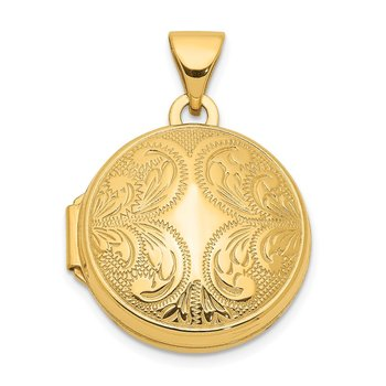 14k 16mm Round Locket with Scroll Design