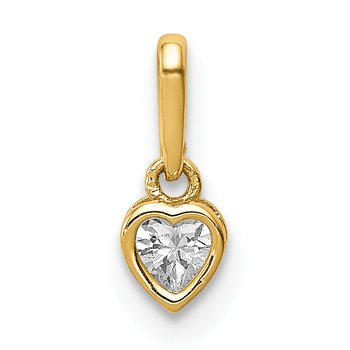 14K CZ Heart Dangle Pendant
