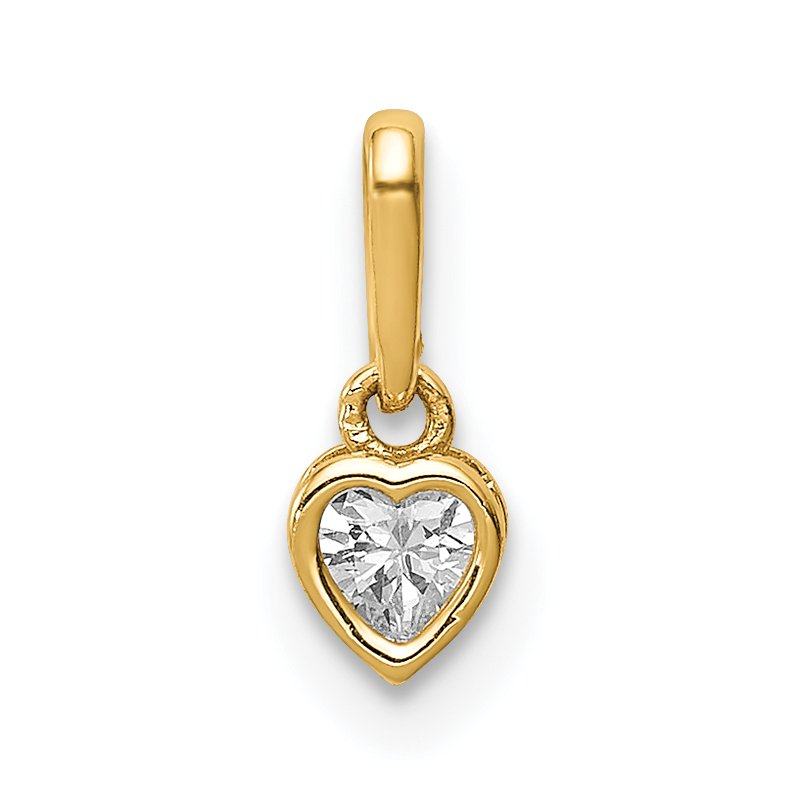Quality Gold 14K CZ Heart Dangle Pendant