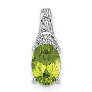 Sterling Silver Rhodium-plated Diamond & Peridot Oval Pendant