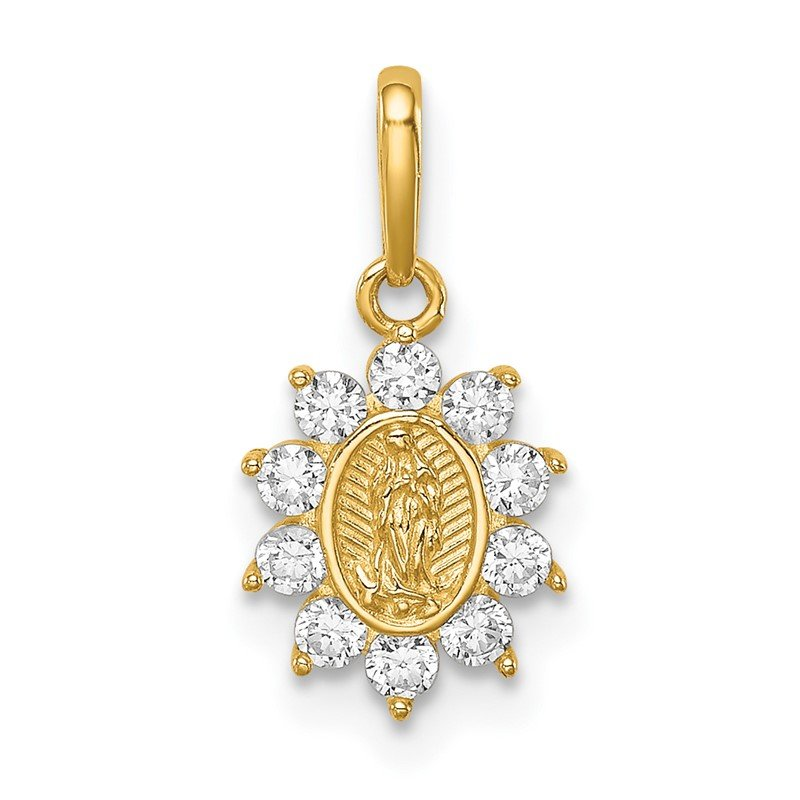 Quality Gold 14K Our Lady of Guadalupe CZ Pendant