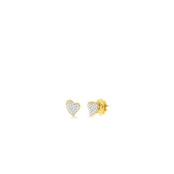 18KT GOLD & DIAMOND PRINCESS HEART STUD EARRINGS