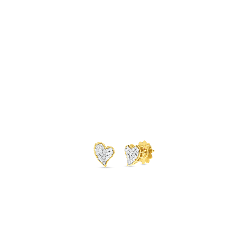 Roberto Coin 18KT GOLD & DIAMOND PRINCESS HEART STUD EARRINGS