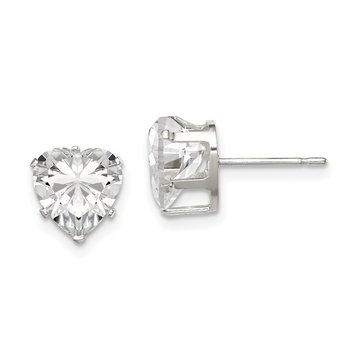Sterling Silver 8mm Heart Snap Set CZ Stud Earrings