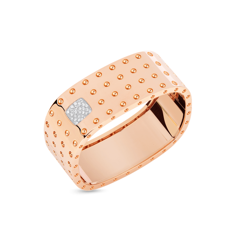 Roberto Coin 4 Row Square Bangle With Diamonds &Ndash; 18K Rose Gold, M