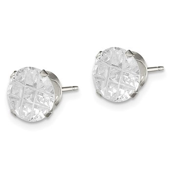 Sterling Silver 8mm Round Snap Set Laser-cut CZ Stud Earrings
