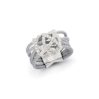 Grey Cable Knot Ring with 18kt White Gold & Diamonds