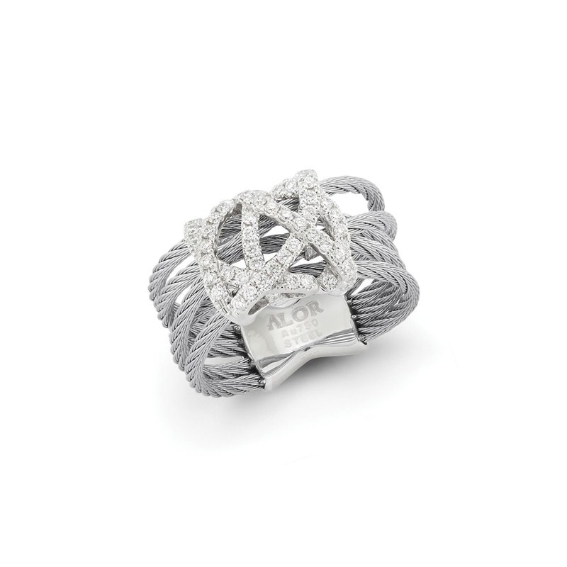 ALOR Grey Cable Knot Ring with 18kt White Gold & Diamonds