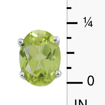14k White Gold Large 6x8 mm Oval Peridot Studsds