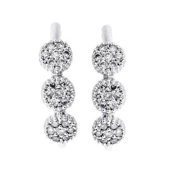 Diamond Triple Halo Cluster Earrings in 14k White Gold (⅛ ctw)