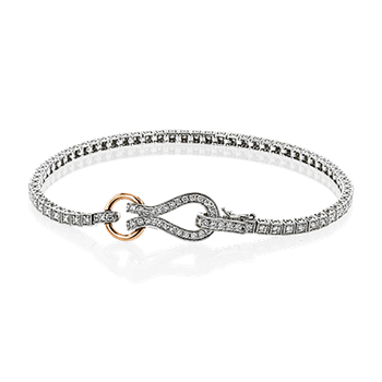 Simon G diamond bracelet with signature clasp, 18kt white and rose gold, 97=0.99ct diamonds. Available at our Halifax store.