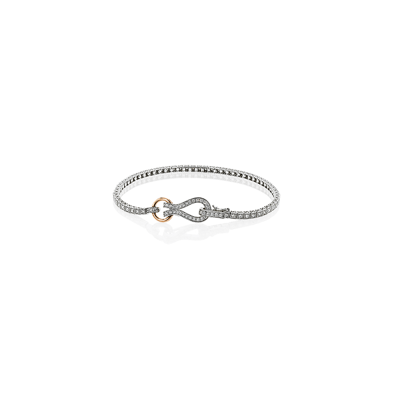 Simon G Simon G diamond bracelet with signature clasp, 18kt white and rose gold, 97=0.99ct diamonds. Available at our Halifax store.