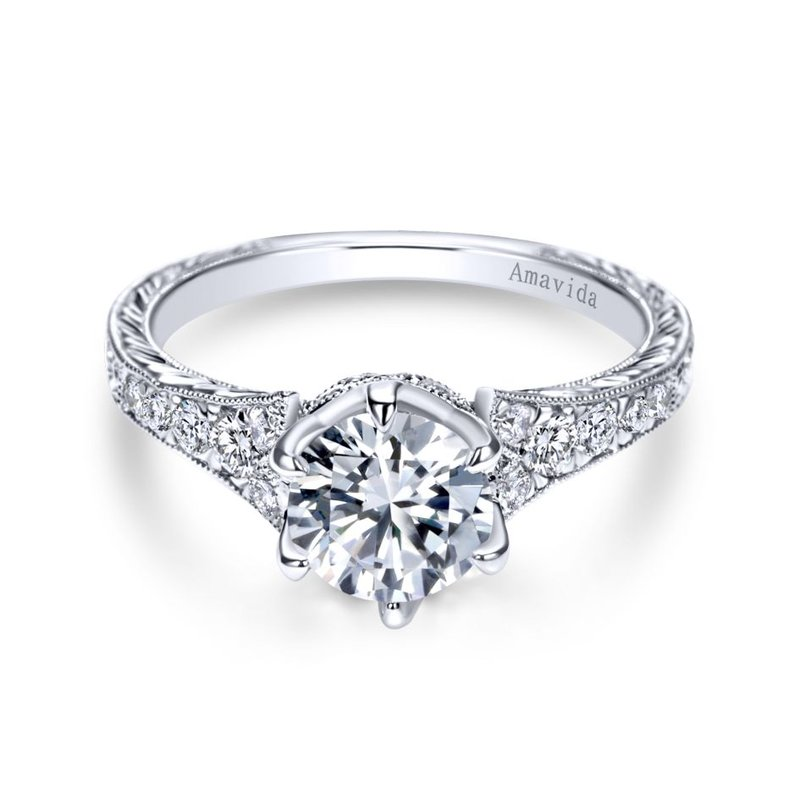 Gabriel Bridal Platinum Round Diamond Engagement Ring