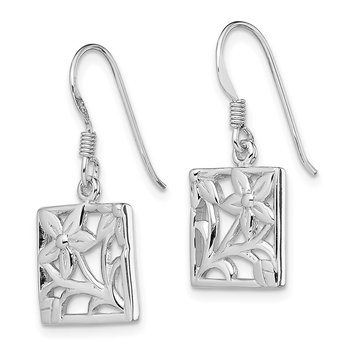 Sterling Silver Rhodium-plated Polished Square Flower Dangle Earrings