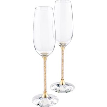 Crystalline Toasting Flutes , Gold Tone (Set of 2)