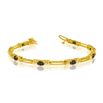10k Yellow Gold Natural Mystic-Topaz And Diamond Tennis Bracelet