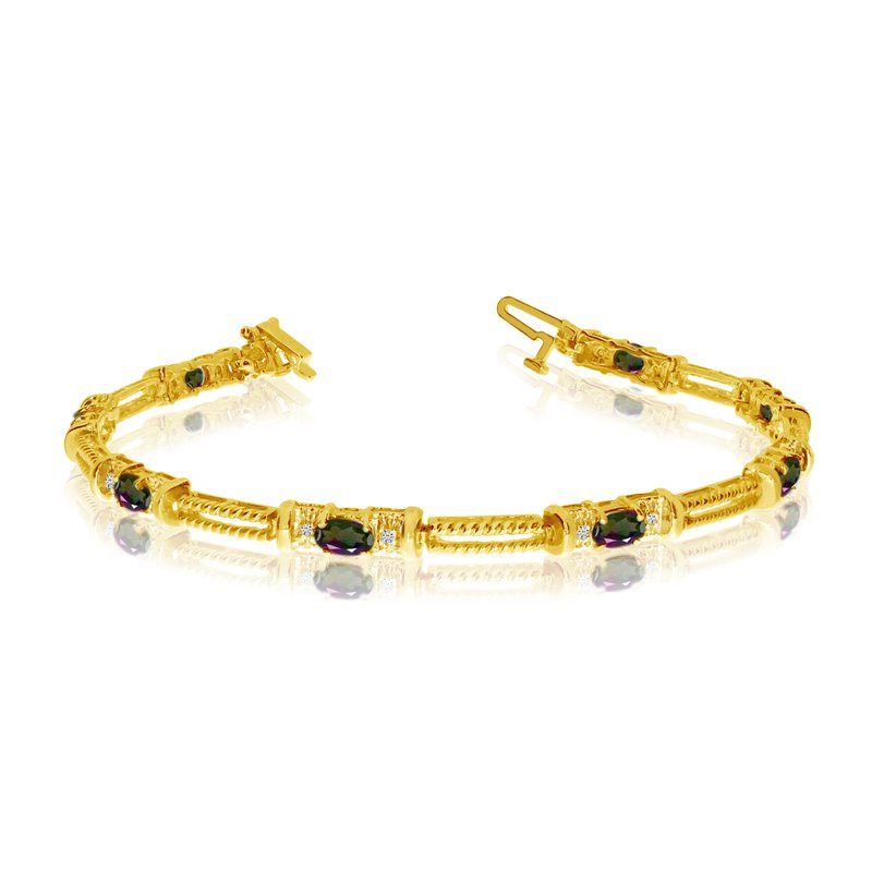 Color Merchants 10k Yellow Gold Natural Mystic-Topaz And Diamond Tennis Bracelet