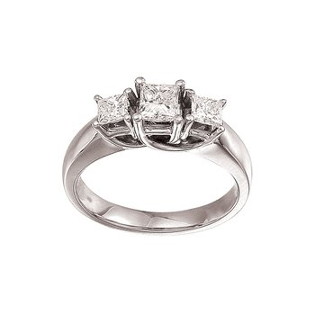14k White Gold 1.00 Ct Three Stone Trellis Diamond Ring