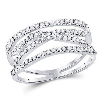 10kt White Gold Womens Round Diamond Crisscross Crossover Band Ring 3/8 Cttw