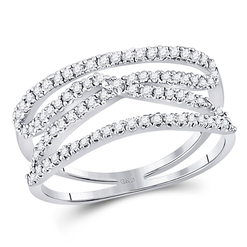 Gold-N-Diamonds, Inc. (Atlanta) 10kt White Gold Womens Round Diamond Crisscross Crossover Band Ring 3/8 Cttw