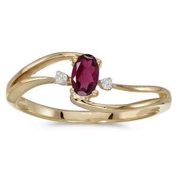 14k Yellow Gold Oval Rhodolite Garnet And Diamond Wave Ring