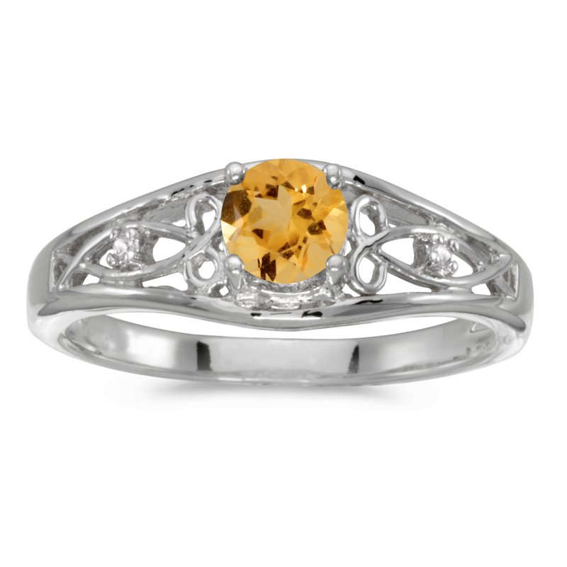 Color Merchants 14k White Gold Round Citrine And Diamond Ring