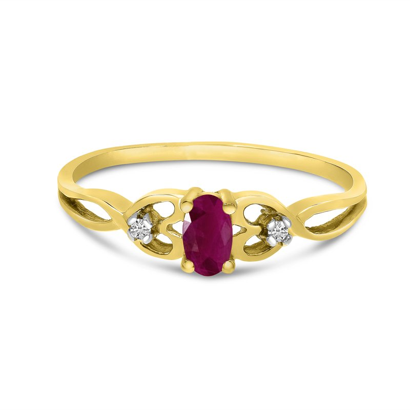Color Merchants 14k Yellow Gold Oval Ruby And Diamond Ring
