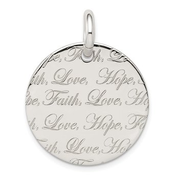 Sterling Silver Polished 'Love, Hope, Faith' Engraved Pendant