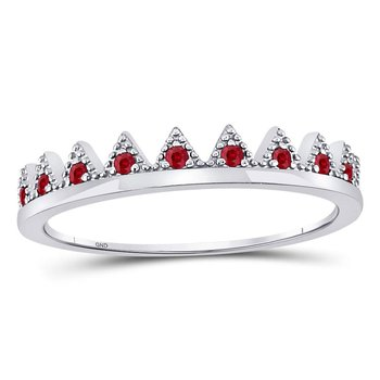 10kt White Gold Womens Round Ruby Beaded Chevron Stackable Band Ring 1/10 Cttw